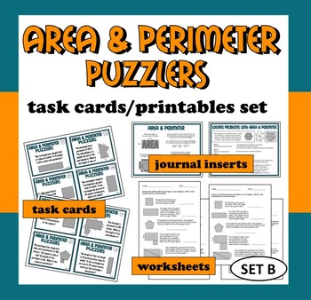 Area and Perimeter Puzzlers - task cards + printables (set B)