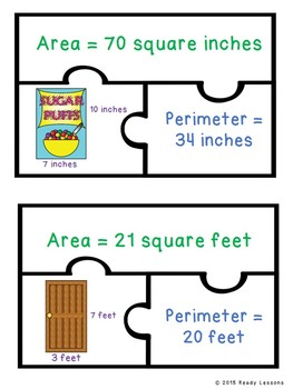 Perimeter and Area Game Puzzles for Finding Area of Rectangles and Squares