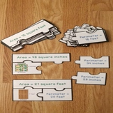 3rd Grade Math Activity Area and Perimeter of a Rectangle Review Game Puzzles