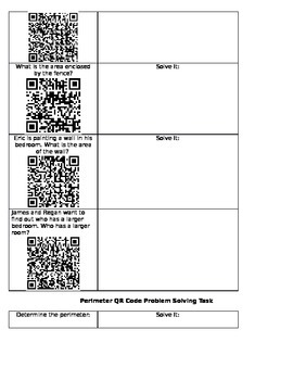 Area and Perimeter QR Code Tasks and Game