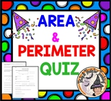 Area and Perimeter QUIZ Test Geometry Homework Formula Plug it in Worksheet