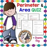 Area and Perimeter QUIZ Test Geometry Homework Formula Plug it in Worksheet