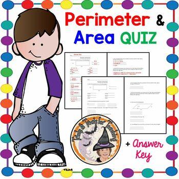 Area and Perimeter QUIZ Test Geometry Homework Formula Plu