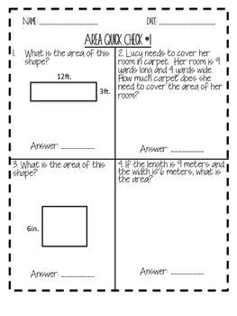 Area and Perimeter Quick Check Quizzes FREEBIE