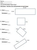 Area and Perimeter Quick Quiz (Basic shapes)