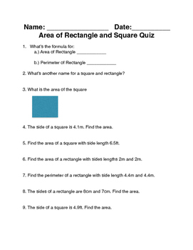 Area and Perimeter Quiz