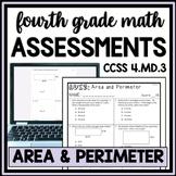 Area and Perimeter Quiz, 4th Grade 4.MD.3 Measurement Assessment, 2 Versions!