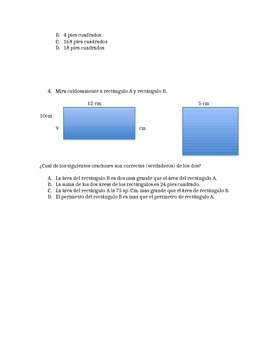 Area and Perimeter Quiz SPANISH