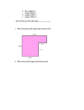 Area and Perimeter Quiz - Word Document