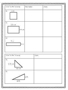 Area and Perimeter Quiz w/ Key Included