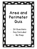 Area and Perimeter Quiz - Key Included - No Prep