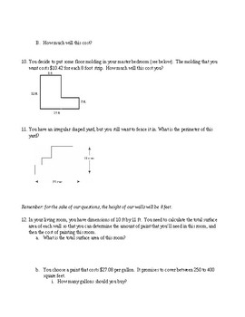 """Area and Perimeter """"Real World"""" questions"""