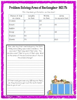 Area and Perimeter Resource Pack: Vocab cards, Pretest, AND Journal Pages