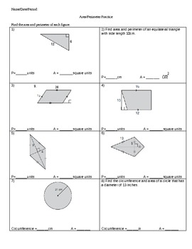 Area and Perimeter Review