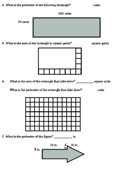 Area and Perimeter Review (TEKS 3.6C and 3.7B)