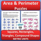 Area and Perimeter Review Worksheets (Puzzles)