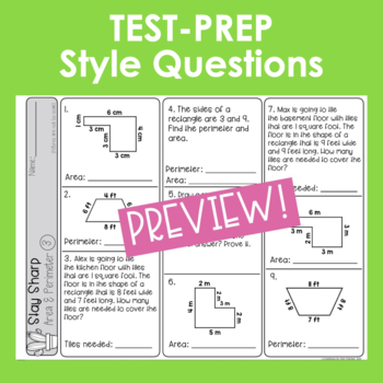 Area and Perimeter Review and Test Prep Third Grade
