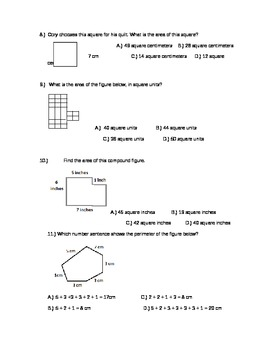 Area and Perimeter Review/Test