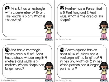 Area and Perimeter Scoot Task Cards!