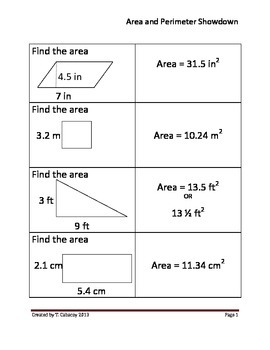 Area and Perimeter Showdown Task Cards