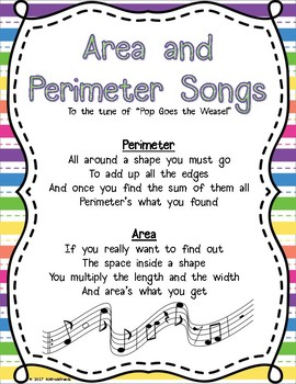 Area and Perimeter Songs FREEBIE