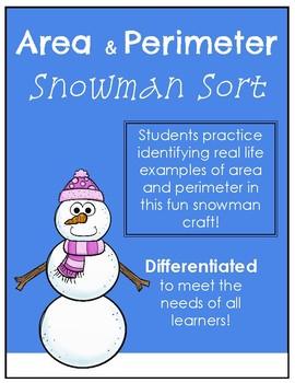Area and Perimeter Sort - Snowman Craft
