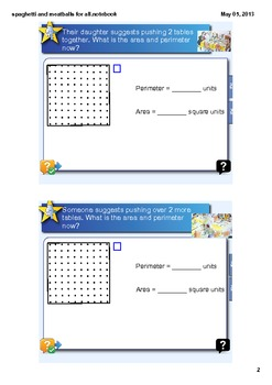 Area and Perimeter Spaghetti and Meatballs for All Activity CCSS 4.MD.3