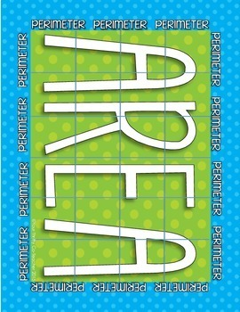 Area and Perimeter Squares & Rectangles Interactive Notebook, Poster, Task Cards