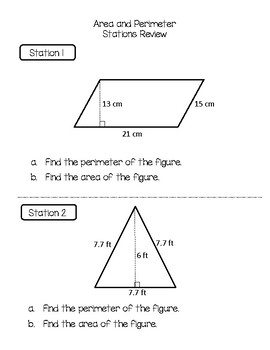 Area and Perimeter {Stations Review}