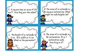 Area and Perimeter Superhero Themed Task Cards
