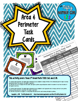 Area and Perimeter Task Cards Math TEKS 3.6C and 3.7B