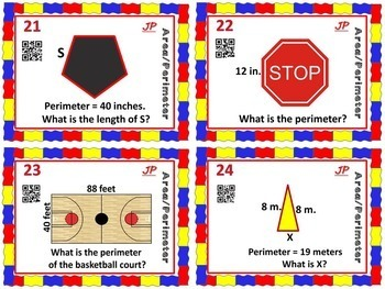 MEASUREMENT/ AREA & PERIMETER-Area and Perimeter Task Cards