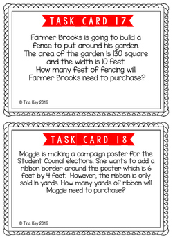 Perimeter and Area Task Cards