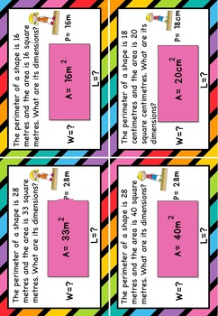 Higher Order Thinking HOTS Area and Perimeter Task Cards Grade 4, 5 and 6 AUS UK