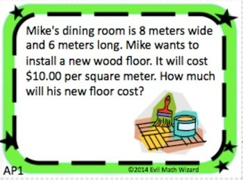 Area and Perimeter Metric Task Cards - Real Life Word Problems