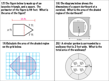Area and Perimeter Task Cards ~ Middle Grades Math