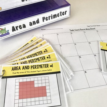 Area and Perimeter Task Cards: Set of 24 for Grades 3-4