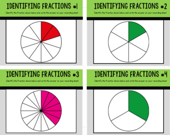 Identifying Fractions Task Cards: Set of 24 for Grades 2-4