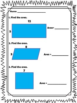 Area and Perimeter Task Cards, Sorting Activity and Worksheet Packet