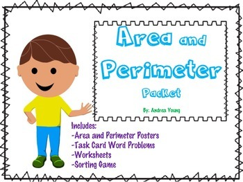 Area and Perimeter Task Cards, Sorting Activity and Worksh
