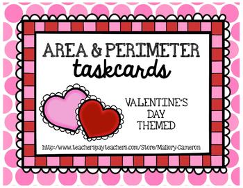 Area and Perimeter Task Cards - Valentine Theme
