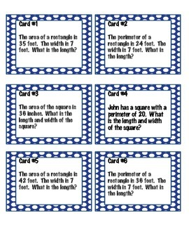 Area and Perimeter Task Cards and Game