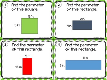 Area and Perimeter Of Rectangles and Squares - Differentiated Task Cards