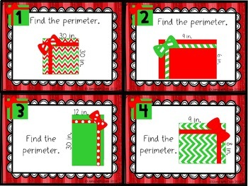 Area and Perimeter Task Cards with Christmas Presents