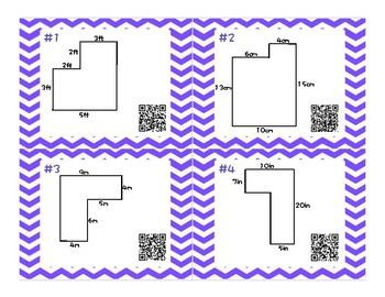 Area and Perimeter Task Cards with optional QR Code