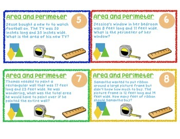 Area and Perimeter Task Cards/Word Problems for 3rd, 4th, and 5th Grade