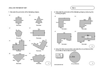 Area and Perimeter Test and Matching Practice Worksheet - Bundle
