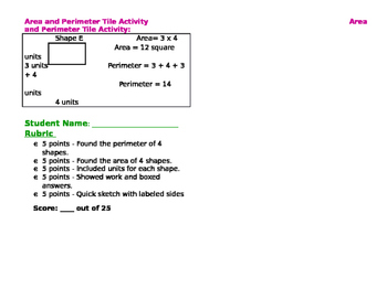 Area and Perimeter Tile Activity