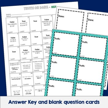 Area and Perimeter Truth or Dare Math Game