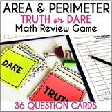 Area and Perimeter Activity Truth or Dare Math Game